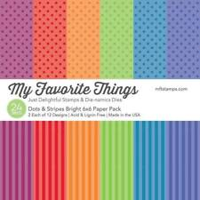 """New MFT My Favorite Things 6"""" x 6"""" Paper Pack Dots and Stripes Bright"""