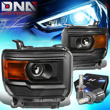 FOR 2014-2017 GMC SIERRA 1500 PROJECTOR HEADLIGHTS W/LED KIT+COOLING FAN BLACK