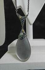 Alexis Bittar Ash Gray Lucite Swarovski Crystal Long Drop Necklace NWT $295