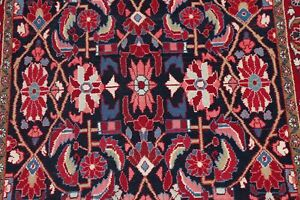 Excellent Navy Blue/Red/Pink Floral Hamedan Lilian Area Rug Wool Hand-made 5x10