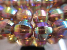 100pcs VINTAGE W German Topaz AB Faceted Disco Cut Glass Bead 8mm
