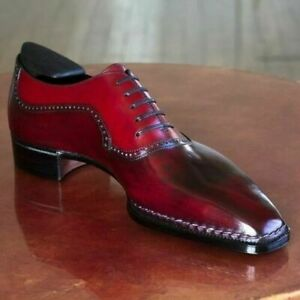 Handmade Men's Genuine Red Leather Oxford Lace up Shoes