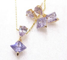 14K Yellow Gold Plated Lavender Blue Simulated Diamond Earrings Necklace Set