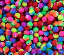 1) 100 Perlen Kunststoff Regenbogen rund ø 8 mm Bunt Neon Halskette Basteln
