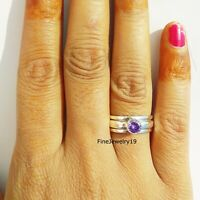 Amethyst Ring 925 Sterling Silver Spinner Ring Meditation Statement Jewelry A69