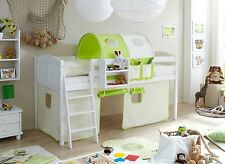 Lit mezzanine ERIC Pin massif teinté blanc tissus Beige-Vert