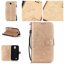 Bling Butterfly Wallet Leather Flip Case Cover Stand ID Card Holder For Samsung