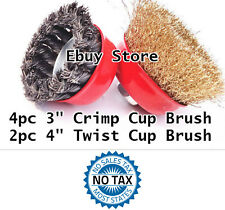 """6pc  3"""" Arbor FINE Crimp & 4"""" Knot Wire Cup Brush Twist For Angle Grinder 6 pc"""