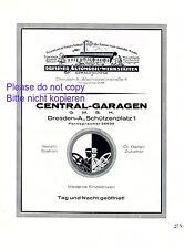 Auto Werkstatt Richter & Central Garagen Dresden XL 1926 Reklame Werbung +
