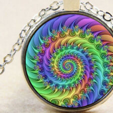 New Rainbow Fibonacci Spiral, Pendant Necklace Silver, Sacred Geometry Universal