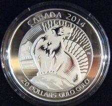 2014 Canada Untamed Canada Wolverine $20 Silver Proof   ** FREE U.S SHIPPING **