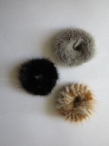 3pcs/pack real mink fur hair scrunchies ponytail holders hair band scrunchies(gb