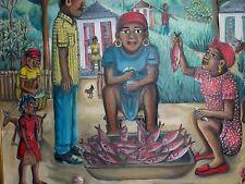"MERCHANDE DE POISSONS"" HAITIAN PAINTING BY MASTER WILSON BIGAUD HAITI 24 x 20"