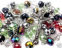 """Multi color Catholic Rosary Necklace Colorful Beads Holy Soil Medal & Cross 19"""""""