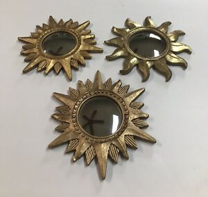 Lot of 3 Vintage Gold Sun Painted Framed Mirrors Wall Hanging Starburst Convex