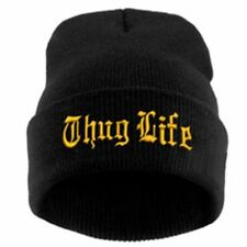 """Thug Life""  EMBROIDERED CUFFED BEANIE Black / Gold SKULL CAP Free Shipping"