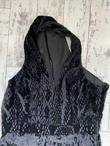 River Island Black Devore Velvet Sleeveless Jumpsuit 12 Snake Print Plunge Neck