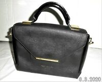 Ted baker bag black leather, small hand held with gold bar to front.