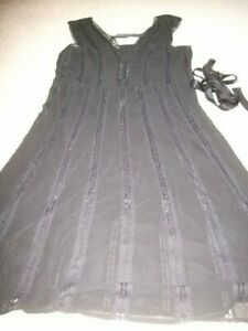Ted Baker 3 black silk 20s flapper style lace silk dress 12 14 with ties + slip