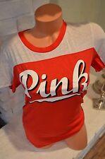 Victoria's Secret love pink t shirt short sleeve red white cursive Large L
