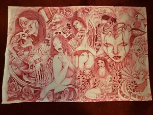 """Prison Inmate Art Drawing on Cloth - 26"""" long x 17"""" wide approx. ALL HUSTLE"""