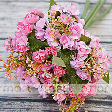 "Pink Artificial Silk Japanese Rose Plant Flower Bouquet Party Decor Home 12"""