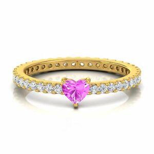 Solid 14k Gold Heart Pink Sapphire Gemstone Si/Hi Diamond Ring Handmade Jewelry