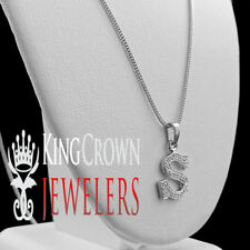"Mini Pendant+ Chain White Gold Finish Real Genuine Diamond Initial Letter ""S"""