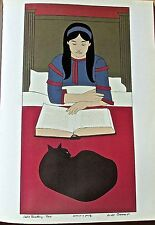 Will Barnet Poster Of Child Reading Red 16x11 Unsigned Offset Lithograph