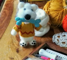 Dog with Bone, Hand Knitted Soft Toy - New Custom Crafted