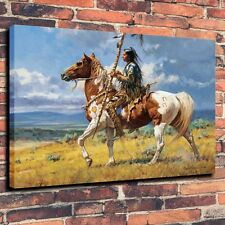 "Art Quality Canvas Print, Oil Painting Indian Spear Horse A5975,16""x20"""