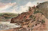 CAPTAIN JOHN HENRY HOWARD RN Watercolour Painting WHITBY ROBIN HOOD'S BAY 1893