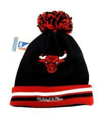 Chicago Bulls Knit Hat Beanie Unisex Adult Cuffed Pom Mitchell & Ness