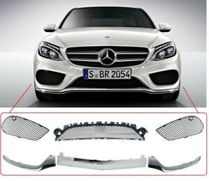 NEW Mercedes C Class W205 2014- AMG Front Bumper Lower Crome Trim And Grill SET
