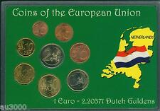 NETHERLANDS 8 Coin Euro SET: 2€ ; 1€ ;50 Cents 20; 10 ;5 ;2 ;1 Cent 1999 &  2001