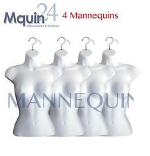 4 Mannequin Female Torsos - 4 White Plastic Women's Hanging Dress Form Displays