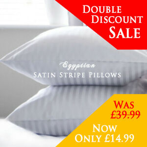 Hotel Quality Egyptian Stripe Pillows Luxury Soft Hollowfibre Filled - 4 Pack