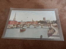 Early Photochrom postcard - Worcester bridge River Severn & Cathedral