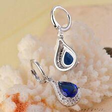 Elegant Tränen-Tropfen Saphir Silber überzogener Tropfen baumeln Ohrringe KAKI