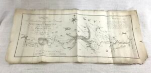1772 Rare Antique Map Canal Navigation Wakefield River Went Pontefract Yorkshire