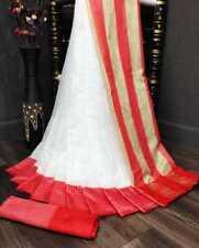 Soft Silk White Saree with Contrast Pallu Border Designer Indian Pakistani SS