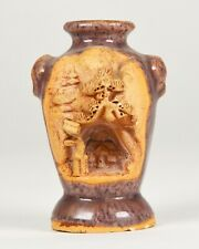 Antique Japanese Banko Ware Carved Pottery Bud Vase Tree of Life Pagoda Japan
