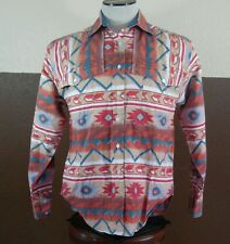 Vtg Pecos Blues Cowboy Western Native Aztec Print Long Sleeve Button Up Shirt M