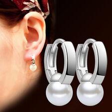 A019#  Women 925 Sterling Silver Freshwater Pearl Simple Ear Clip Hoop Earrings