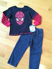 Nwt Boy's 2 Piece Outfit, Size 3T Ultimate Spiderman Shirt & Blue Jeans