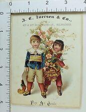 J.C Iverson & Co Fine Art Goods Two Cute Little Boys Potted Tree Blossoms #E