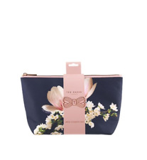 Ted Baker Navy Harmony Small Cosmetic Bag Floral/Blue/Make-Up/Travel NEW