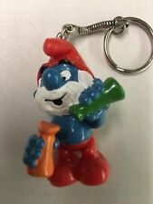 Vintage 1980's Papa Smurf Chemist PVC Figure Keychain