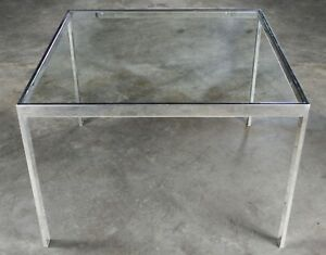 Chrome & Glass Milo Baughman Attribution Parsons Style End Table Mid Century Mod