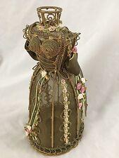 """Goldtone Pink 11"""" Metal Dress Form Figurine Candle Holder"""